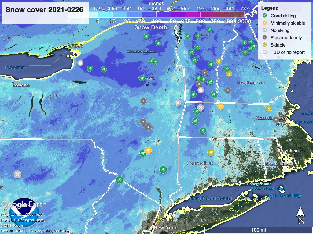 Snow depth northeast US,Feb. 26 2021 (NWS) , with ski centers marked