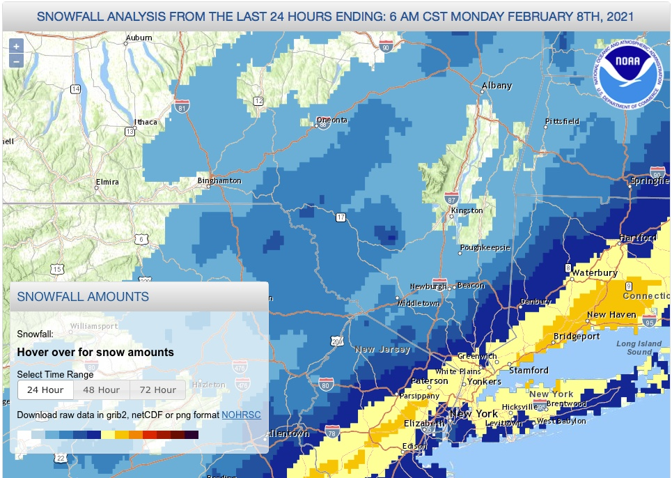 Snowfall analysis for NY metro region for 24 hrs ending Feb. 8, via NOAA
