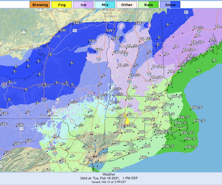 Weather forecast for northeast US, as of Feb. 16 1pm