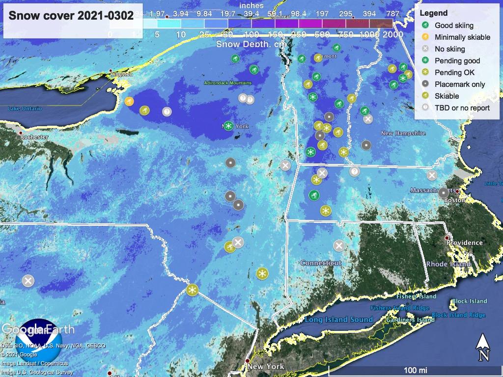 Snow depth northeast US, Mar. 2 2021 (NWS) , with ski centers marked