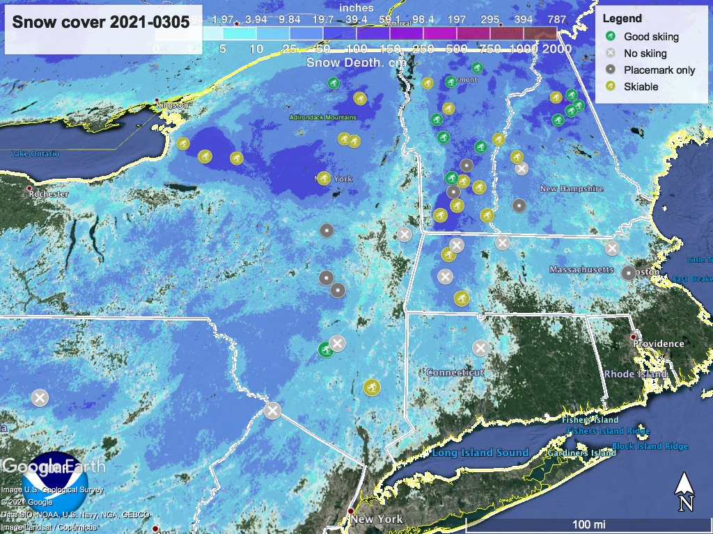 Snow depth northeast US, Mar. 5 2021 (NWS) , with ski centers marked