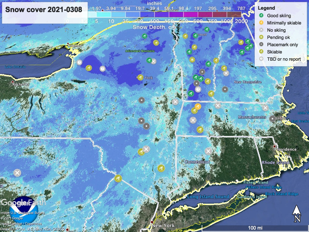 Snow depth northeast US, Mar. 8 2021 (NWS) , with ski centers marked