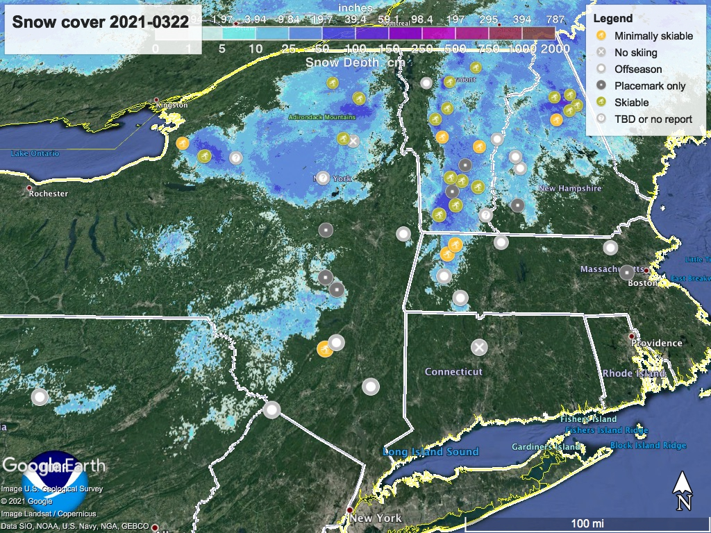 Snow depth northeast US, Mar. 22 2021 (NWS) , with ski centers marked