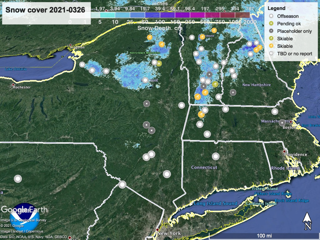 Snow depth northeast US, Mar. 26 2021 (NWS) , with ski centers marked