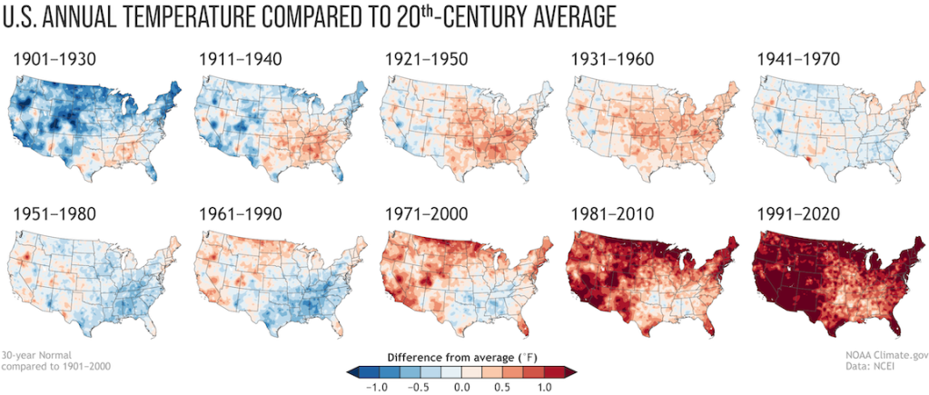 Annual U.S. temperature compared to the 20th-century average for each U.S. Climate Normals period from 1901-1930 to 1991-2020 (NOAA.gov)